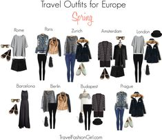 Backpacking in Europe this Spring - Packing List and Travel Outfits! Are you Backpacking in Europe this Spring? Check out the ultimate packing list including clothing suggestions, weather summary, and travel outfit ideas! Europe Travel Outfits, Packing For Europe, Travel Wardrobe, Capsule Wardrobe, Packing Lists, Travel Europe, Spring Outfits Travel, European Travel, Business Travel Outfits