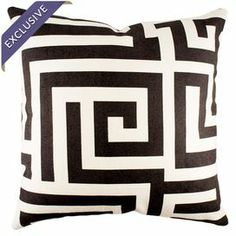 Bring a pop of pattern to your living room sofa or loveseat with this handmade cotton pillow, showcasing a Greek key-inspired motif in black.  Product: PillowConstruction Material: Cotton denim coverColor: BlackFeatures:  Made in the USAZipper closureHandmade by TheWatsonShop Insert included