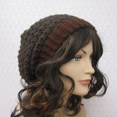 Brown Slouchy Crochet Hat - Womens Slouch Beanie - Oversized Cap - Fall Winter Fashion Accessories.