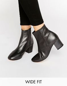 Dune+Wide+Fit+Pebble+Pewter+Leather+Heeled+Ankle+Boots