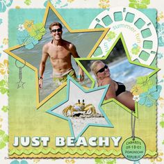 Just Beachy Scrap Page...with star frames & viewmaster reel.