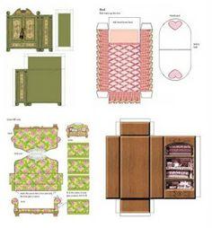 Maison playmobil et barbie meubles et objets en papier for Plan de meuble gratuit
