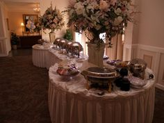 wedding buffet table decorating ideas | Photo Gallery - Photo Of Wedding Reception Buffet Table 2 ROUND TABLES on each end of rectangle