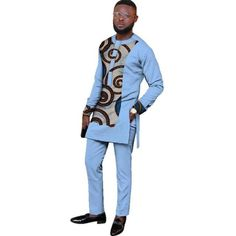 Natural Mens African Clothing Dashiki Men 2 Pieces Top and Pants Set African Wear Styles For Men, African Shirts For Men, African Dresses Men, African Attire For Men, African Clothing For Men, Latest African Fashion Dresses, African Print Fashion, Africa Fashion, Kaftan