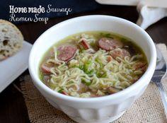 Homemade Sausage Ramen Soup, low-sodium!