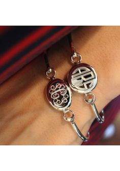 sterling silver Classic Latch Monogram bracelet with a circle or oval medallion and block or script engraving! #SwellCaroline #Monograms #Preppy