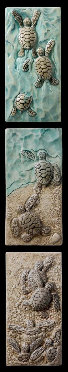 Ceramic sculpted set Baby sea turtle by MedicineBluffStudio, $112.00 A really cool triptych that fits into tall narrow spaces.: