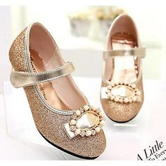 Girls' Shoes Party & Evening/Dress/Casual Heels/Closed Toe Leatherette Heels Pink/Gold – USD $ 22.49