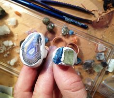 Electroforming Rings ~ The start. One with a big fat agate and the other with blue and green apatite.