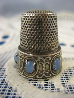 Silver Moonstone Thimble Made in Italy