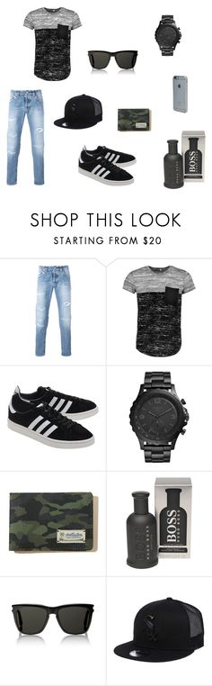 """""""Untitled #9"""" by hachbold-petra on Polyvore featuring Dondup, Boohoo, adidas Originals, FOSSIL, Hollister Co., BOSS Hugo Boss, Yves Saint Laurent, New Era, Incase and men's fashion"""
