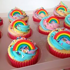 Rainbow cupcakes made by LayerCakeShop.com