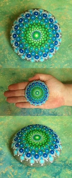 """Mandala Stone by Kimberly Vallee: Hand painted with acrylic and protected with a matt finish, each stone is about 2.5"""" diameter and is one-of-a-kind."""