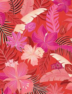Tropical Fabric, Tropical Pattern, Tropical Prints, Tropical Leaves, Flower Bomb, Flower Art, Patterns In Nature, Textures Patterns, Graphic Patterns