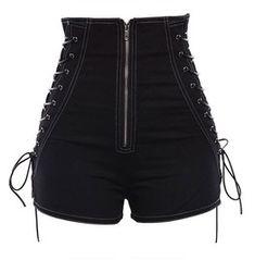 Goth Thin High Waist Zipper Crisscross Women's Shorts Gothic Kleidung diy Edgy Outfits, Teen Fashion Outfits, Grunge Outfits, Cute Casual Outfits, Girl Outfits, Womens Fashion, Fashion Art, Gothic Fashion, Fashion Shirts