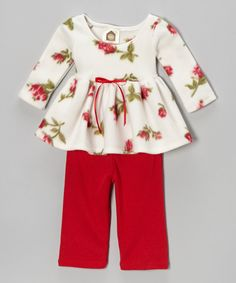 Red & White Rosy Baby Fleece Tunic & Pants - Infant & Toddler | Daily deals for moms, babies and kids