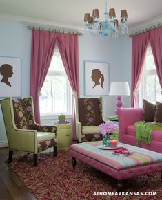 Interior design by Tobi Fairley | Photography by Nancy Nolan | At Home in Arkansas | http://www.athomearkansas.com/article/new-traditional-0#  #pink #turquoise #family