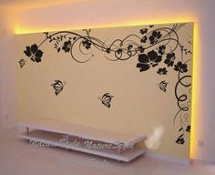 Beautiful Flower with ButterfliesVinyl Wall by NatureStyle on Etsy, $59.00