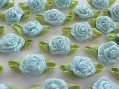 Lovely Satin Ribbon Roses 15mm 100 Deep Christmas Green Rose Embellishments