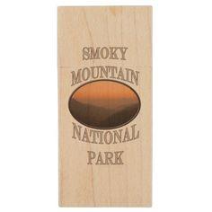 Smoky Mountain National Park Orange Sunset Vert Wood Flash Drive