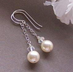 Bridal+Earrings+Sterling+Silver+and+Swarovski+by+lecollezione,+$23.00