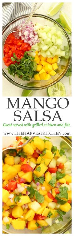 This Mango Salsa features sweet juicy and antioxidant-rich mangoes, cilantro, red pepper, cucumber, red onion and lime juice. It's ideal served with grilled chicken and fish during warm summer months.