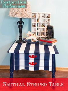 Nautical Striped Table - Running a furniture business, I tend to paint furniture the colors I am drawn to. For me that is usually some form of turquoise, aqua o… Hand Painted Furniture, Paint Furniture, Furniture Projects, Furniture Makeover, Nautical Furniture, Striped Furniture, Diy Projects, Coastal Decor, Diy Home Decor