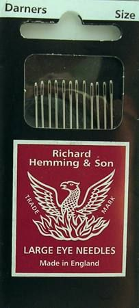 Richard Hemming Darning needles $1.95 per pack. Sizes 1, 3, 5, 7, 9 and asst. Same needles sold at Talas, but this place has flat shipping