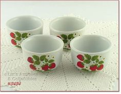 3434 – MCCOY POTTERY – STRAWBERRY COUNTRY CUSTARDS (4) - $50.00