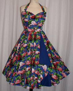 Angel - 1950s vintage inspired full circle flamingo halter dress with - Di Brooks