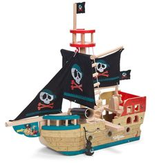 LE TOY VAN JOLLY PIRATE SHIP with Fabric Sails  | Gifts for Kids | Christmas Gifts | Gift Ideas | Unique Gifts | Gifts for Boys | Pirate Boat | Toys 2016