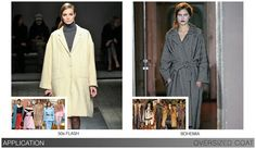 The Oversized Coat takes over where last season's mod coat left off, set primarily to the retro 50s Flash theme. Blanket coat styles also extend into the Bohemia trend. The new voluminous cocoon styles draw attention to silhouette and detail. Sloped shoulders, wide sleeves and double breasted styling is noted. Select details like large collars or lapels are an easy add-on, while low-slung self belts are also found. Additional highlights include contrast trim and fur collars.Ę