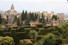 La Alhambra Seen From The Generalife Gardens / Granada / Espagna