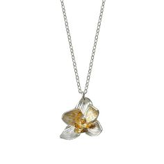 BLOOMING ORCHID NECKLACE | sterling silver pendant, gold leaf, jewelry, flowers | UncommonGoods