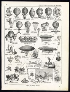 Plate :'Aerostation'. (Balloon). This plate deals with the history of hot air balloons.  Artists and Engravers: Pierre Larousse (1817-1875). Claude Auge (1854-1924). Plate by A. Jam