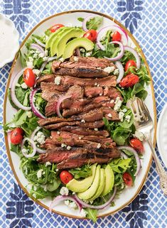 An easy recipe for a delicious Black and Blue Steak Salad!