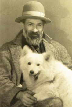 Constantin Brancusi + dog by Man Ray