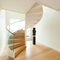 Modern Spiral Stairs Designs For Small Spaces Loft Stairs, Staircase Railings, Curved Staircase, Modern Staircase, House Stairs, Stairways, Spiral Stairs Design, Staircase Design, Interior Architecture