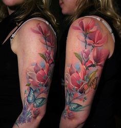 Floral Tattoo For Girls On Sleeve