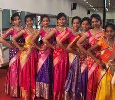 Kanjeevaram with banarasi dupatta/pattu pavadai Half Saree Lehenga, Lehenga Saree Design, Kids Lehenga, Lehenga Designs, Saree Dress, Anarkali, Half Saree Designs, Sari Blouse Designs, Pink Half Sarees