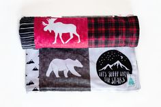 Woodland Baby Blanket - Plaid Baby Bedding - Baby Shower gifts boy - Baby Blankets Boy - New Baby Gift - Plaid Nursery Minky Baby Blanket, Baby Boy Blankets, Baby Shower Gifts For Boys, New Baby Gifts, Designer Baby Blankets, Plaid Nursery, Woodland Baby, Nursery Inspiration, New Baby Products