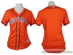 Women MLB Houston Astros #Blank Orange Jersey