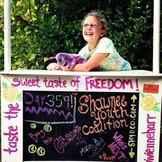 yesterday, this determined Mighty Girl celebrated her 365th straight day of running her anti-slavery lemonade stand!