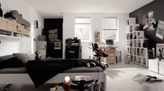 teenage bedroom with black and white decor