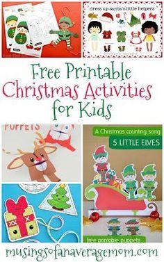 free printable Christmas activities for kids Christmas Activities For Toddlers, Preschool Christmas, Toddler Christmas, Craft Activities, Preschool Crafts, Group Activities, Kid Crafts, Christmas Ideas, Xmas