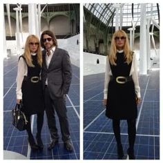 Rachel Zoe is the epitome of chic wearing WilliamVintage 1965 Pierre Cardin to the Chanel fashion show #vintage #fashion #style