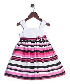 Pink & Black Stripe Satin Dress - Toddler & Girls