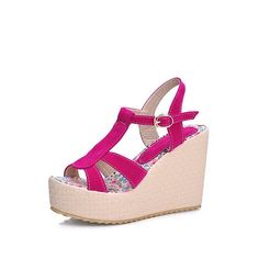 WeenFashion Women's Frosted High Heels Open Toe Solid Buckle Platforms and Wedges ** Read more reviews of the product by visiting the link on the image.