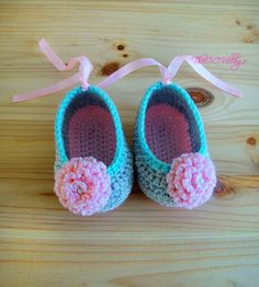 Crochet baby shoes, Grey Pink handmade, Ballerina Baby Girl Crochet Shoes with pink flower Booties Crochet, Crochet Baby Boots, Knit Baby Booties, Baby Girl Crochet, Newborn Crochet, Crochet Shoes, Crochet Clothes, Hand Crochet, Baby Girl Socks