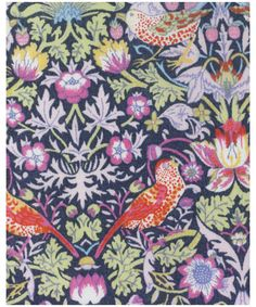 """""""Strawberry Thief"""": This was designed by William #Morris in 1883. It is part of a group of designs incorporating #animals with #flowers. Liberty first produced it as a furnishing fabric in 1979 and it has since been redrawn for Tana lawn on a smaller scale. Strawberry Thief has been on Classic Tana since 1995."""